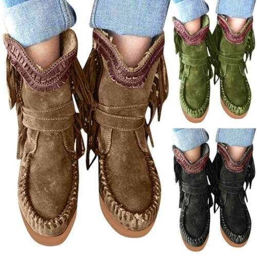 Womens Ladies Suede Fringed Moccasin Ankle Boots Flat Platform Casual Shoes UK