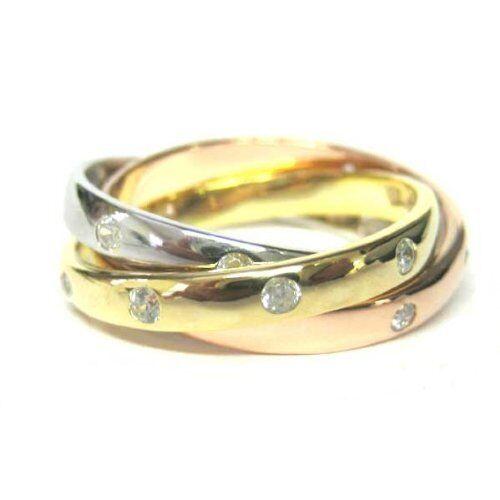 Pave CZ chapado en oro Rosa Chapado en Oro /& Plata Esterlina enlace triple anillo tamaño 7