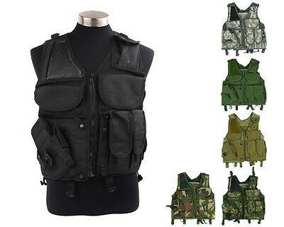 Airsoft Military Tactical Combat Hunting Vest Lightweight with Pistol Holster