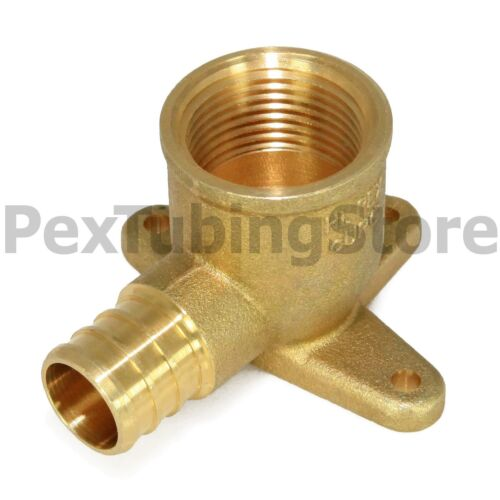 "25 Brass Crimp Fittings 1//2/"" PEX x 3//4/"" Female NPT Threaded Drop Ear Elbows"