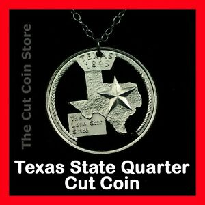 Texas-Lone-Star-State-25-TX-Quarter-Necklace-Charm-Pendant-Cut-Coin-Store