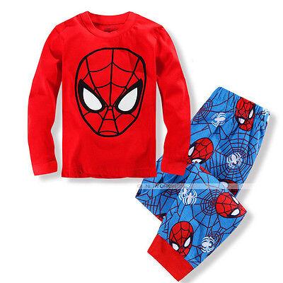 New Kid Baby Boy Spiderman Top Pants Sleepwear Pajama Nightwear Pjs Clothes Set