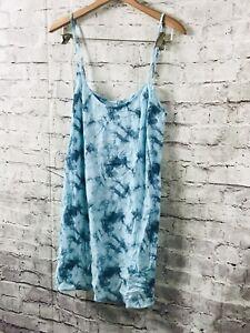 Collection Here Pink Victoria's Secret Strappy Blue Tie Dye Chemise Lounge Dress Sz L Large