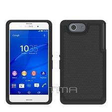 Sony Xperia Z3 Compact Heavy Duty Dual Layer Impact Hybrid Case Cover -  Black