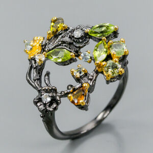 Vintage-SET-Natural-Peridot-925-Sterling-Silver-Ring-Size-8-R98387