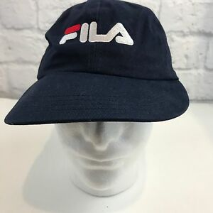 Vtg-FILA-Black-Snapback-baseball-Cap-Hat-Black-One-Size-Fits-All-made-in-USA