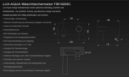 Design Wandarmatur Waschtischarmatur Einhebelmischer chrom Wasserhahn FM14009C