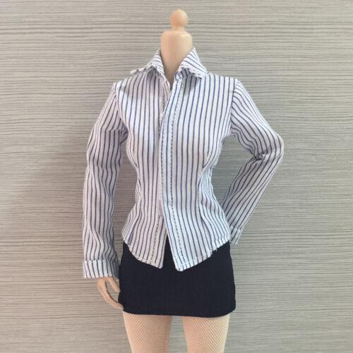 1:6th Striped Shirt Short Dress Stockings for Hot Toys Phicen Kumik