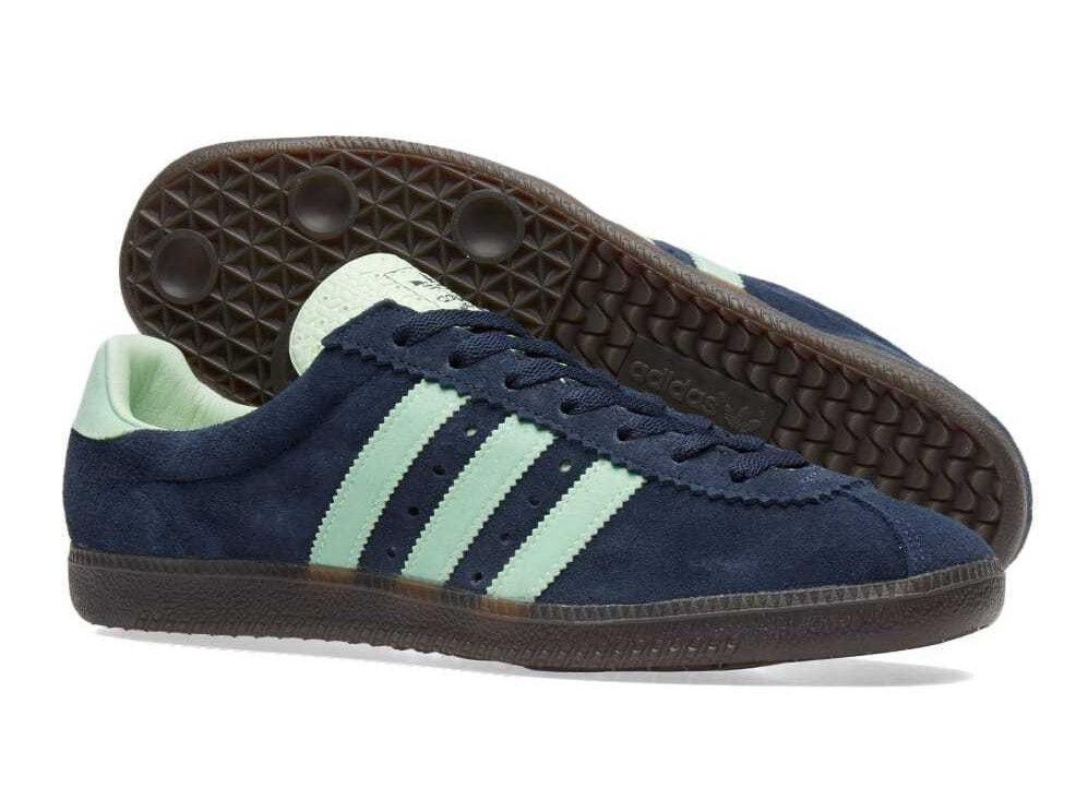 Entièrement neuf dans sa boîte Adidas padiham spzl spezials UK 8.5 Nuit Bleu Marine/Mist Jade AC 7747-