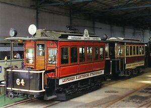 Postkarte-historischer-Roter-AEG-Zug-Tw-64-Bw-86-Strassenbahn-Leipzig