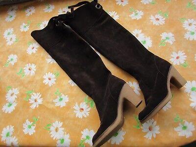Overknee Wild Leder Stiefel Ankel Boots Schuhe 37 braun Kreppsohle Top Zustand