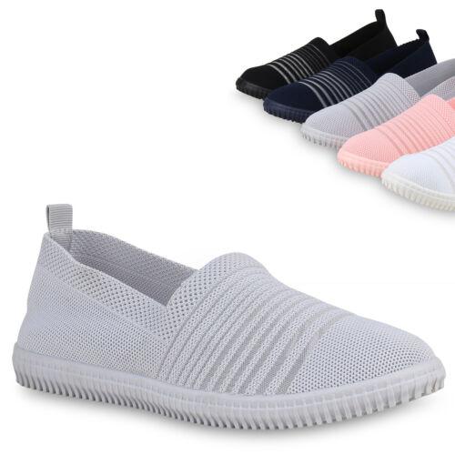 Damen Slippers Slip Ons Strick Freizeit Schuhe Sneaker Stoff Flats 821439 Trendy