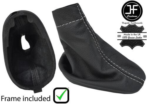 Grey stitch LEATHER GEAR GAITER avec cadre en plastique convient RENAULT CLIO MK2 01-04