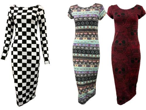 Womens Long//Short Sleeve Check Floral Monochrome Print Ladies Midi Dress 8-14