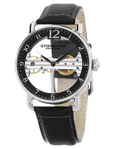 Stuhrling Men's Exposed Bridge Mechanical Skeleton Dial Black Dress Watch 976.01