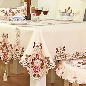 Rond-Rouge-Floral-Brode-Table-Housse-Nappe-travail-de-decoupe-Table-Decor