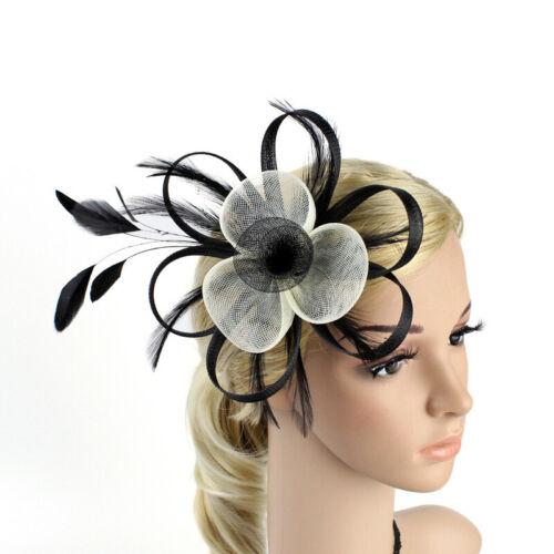 Women Fascinator Hat Elegant Mini Wedding Party Feather Hair Clips Headwear