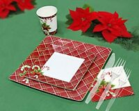 Christmas Disposable Dinnerware And Holiday Party Bundle For 40 Guests, 260 Piec on Sale