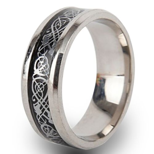 Silver Celtic Ring Size J to Z+3 8mm Stainless Steel Mens Womens Wedding Band