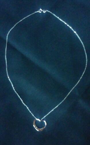 """Argent sterling 925 pendentif en forme de cœur avec 925 Argent Sterling 18/"""" Collier Neuf Sans Étiquettes Original"""