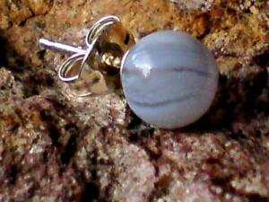 0595127aa SINGLE STERLING SILVER BLUE LACE AGATE SMALL 5mm. BALL STUD EARRING ...