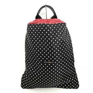 Auth DOLCE&GABBANA Black White Red Nylon Backpack