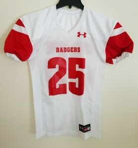 low priced b705d cc2eb Details about New Under Armour Wisconsin Badgers Performance Football  Jersey Youth M #25