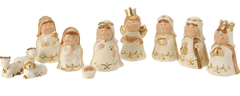 11 Piece Cute Xmas Modern Ceramic Cream Christmas Nativity Figurine Display Set For Sale Online Ebay