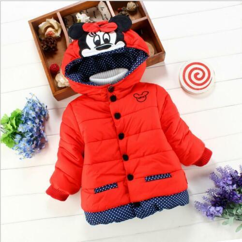 Infant Newborn Girl Cotton Coat Hooded Jacket Kids Warm Winter Cartoon Outerwear