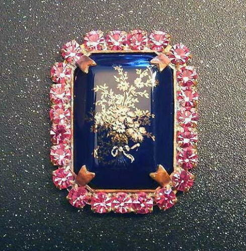 SIGNED #G184 41 mm 1 pc Vintage Style Czech RHINESTONE ALL Glass Button