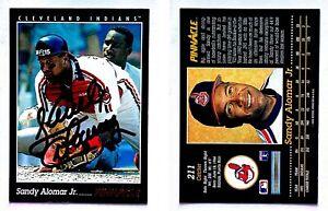 Sandy-Alomar-Jr-Signed-1993-Pinnacle-211-Card-Cleveland-Indians-Auto-Autograph