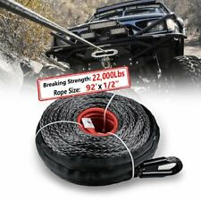 92 12 Synthetic Winch Rope 22000lbs Recovery Line Cable Protective Sleeve