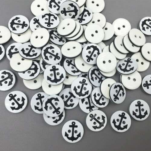 200 Stück Runde Harz Knopf Knöpfe Nähen Anchors Muster scrapbooking craft 13mm