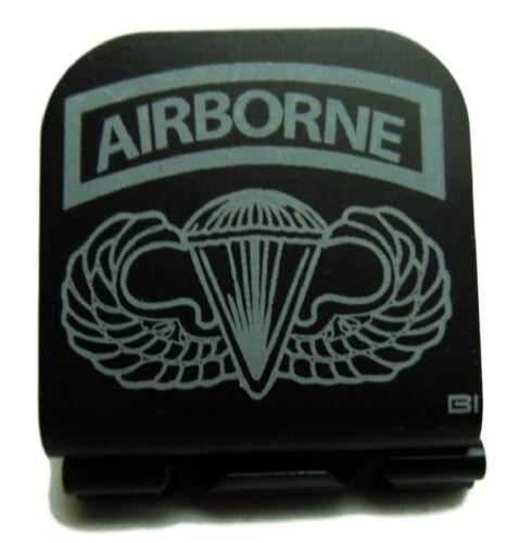 Airborne Tab With Airborne Wings Laser Etched Aluminum Hat Clip Brim-it