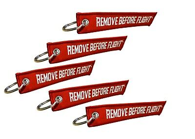 Remove Before Flight Double Sided Embroidered Fabric Keychain Ring Key Chain Aviation ATV UTV Motorcycle