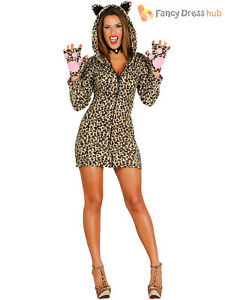 49ce38286919 Details about Ladies Leopard Print Costume Adults Sexy Animal Fancy Dress  Womens Jungle Outfit