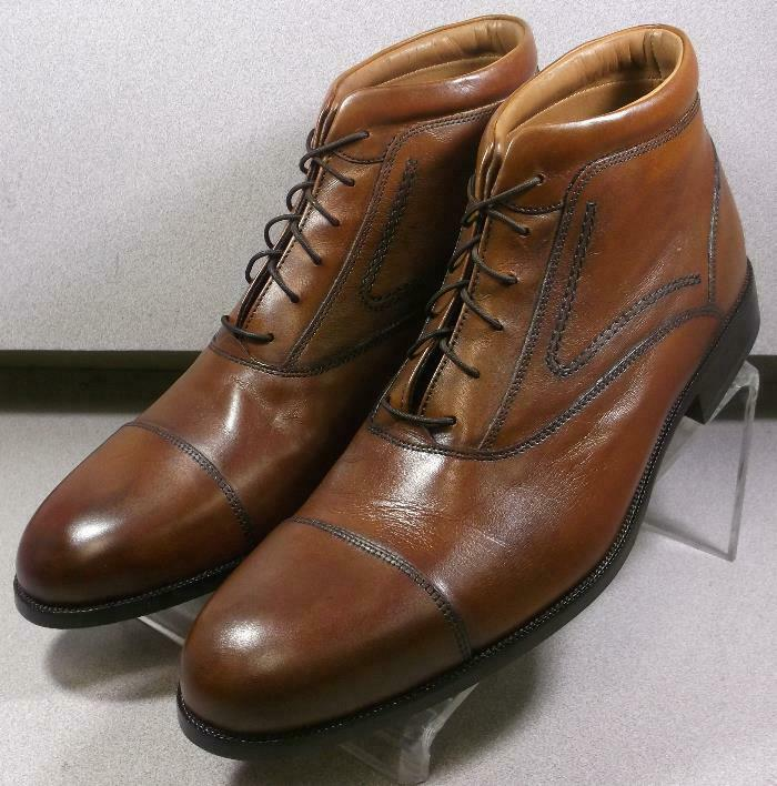 157062 ESBT 50 Chaussures Hommes Taille 10 m en cuir marron clair dentelle Bottes Johnston & Murphy