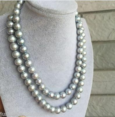 8 inches 9-11mm green gray drop Tahitian Pearl,Natural color Sea pearl,Genuine Tahitian Pearl Necklace,TH9-2A-14-82