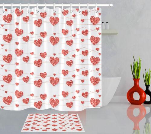 Red Heart Garland Love Valentine Day Bathroom Decor Fabric Shower Curtain Hooks