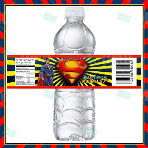 Superman Cartoon Party Bottle Labels