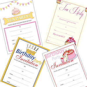 Image Is Loading 20 X Birthday Party Invitations Blank A5 Tea