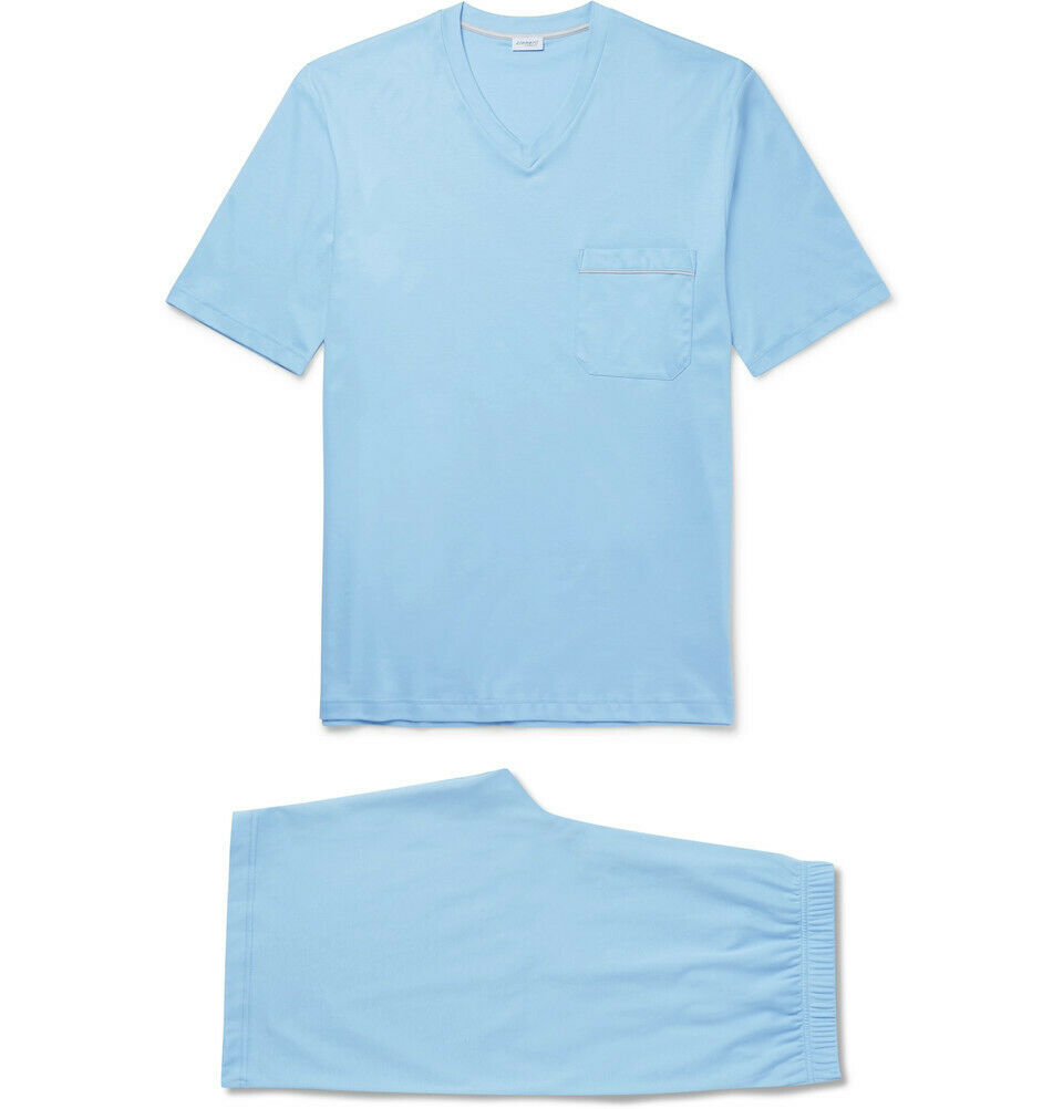 Zimmerli Men's Sky bluee Pyjama Tee Shorts Set