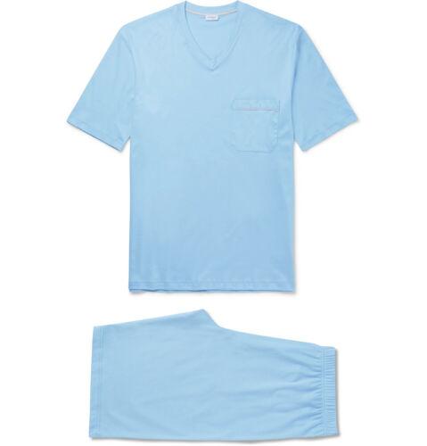 Zimmerli Men/'s Sky Blue Pyjama Tee//Shorts Set