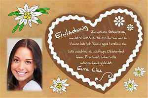 Das Bild Wird Geladen Einladung Oktoberfest Geburtstag Einladungskarte Motto  Party Fotokarte Karte