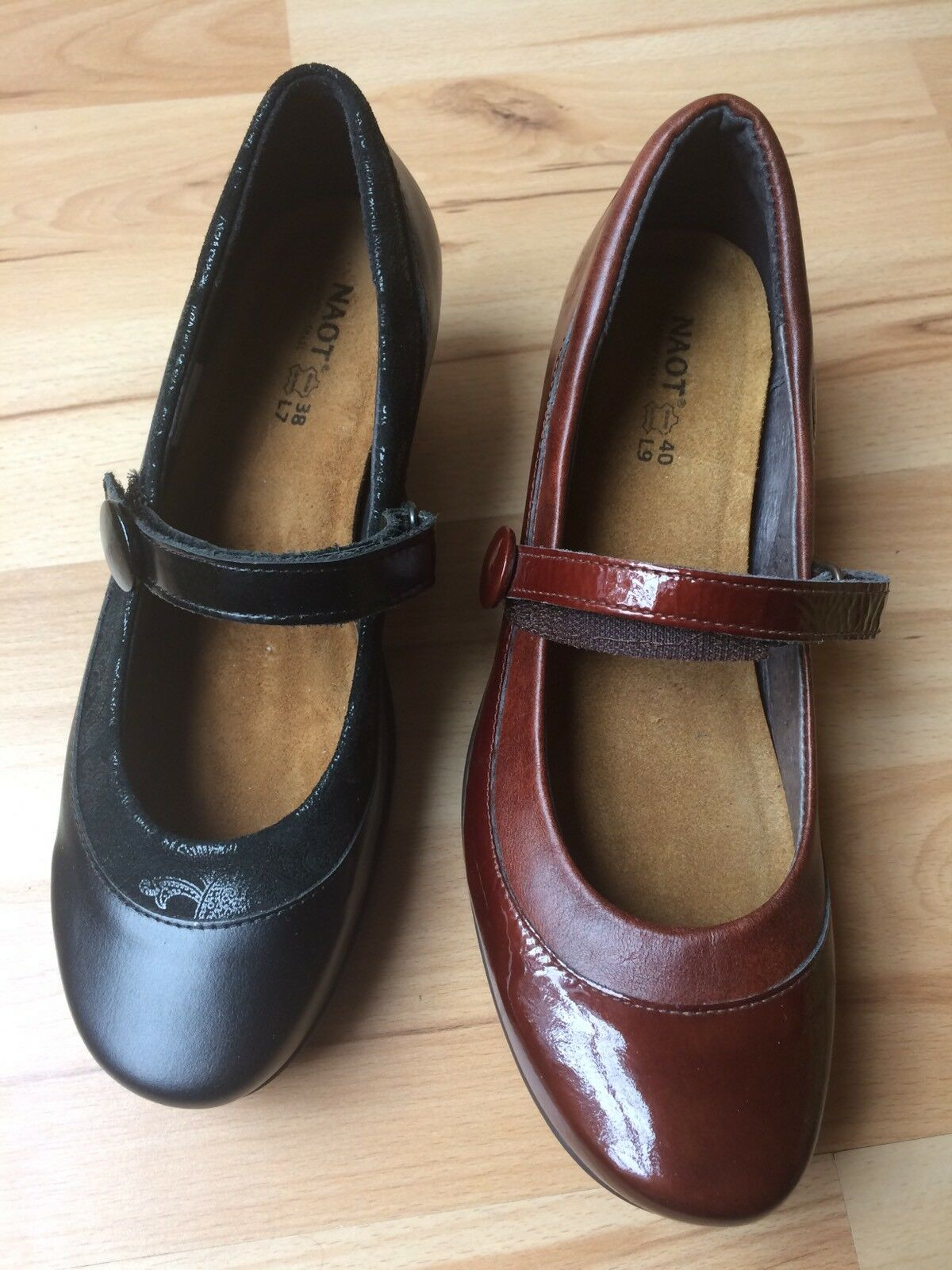 NAOT Trendy 44024 Mary Jane Pumps Heels Brown Crinkle Black Gloss Lace 7 8 9 11
