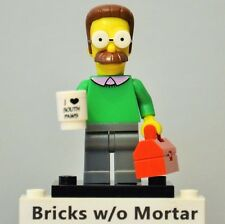 New Genuine LEGO Ned Flanders Minifig with Toolbox and Mug Simpsons 71005
