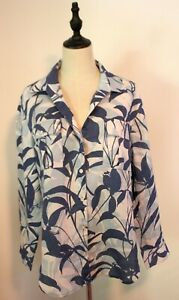 TOMMY BAHAMA ~ White Blue Tones Tropical Leaves Linen Long Sleeve Shirt M