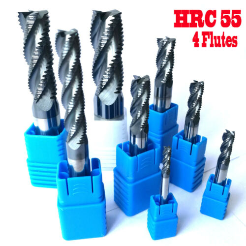4PCS 3//4//5//6MM 4 Flutes HRC55 Roughing End Mills Square Carbide Cutter milling