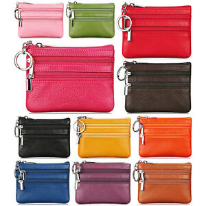 896d983eeab Women s Coin Purse Genuine Leather 3 Zipper Pockets Key Ring Mini ...