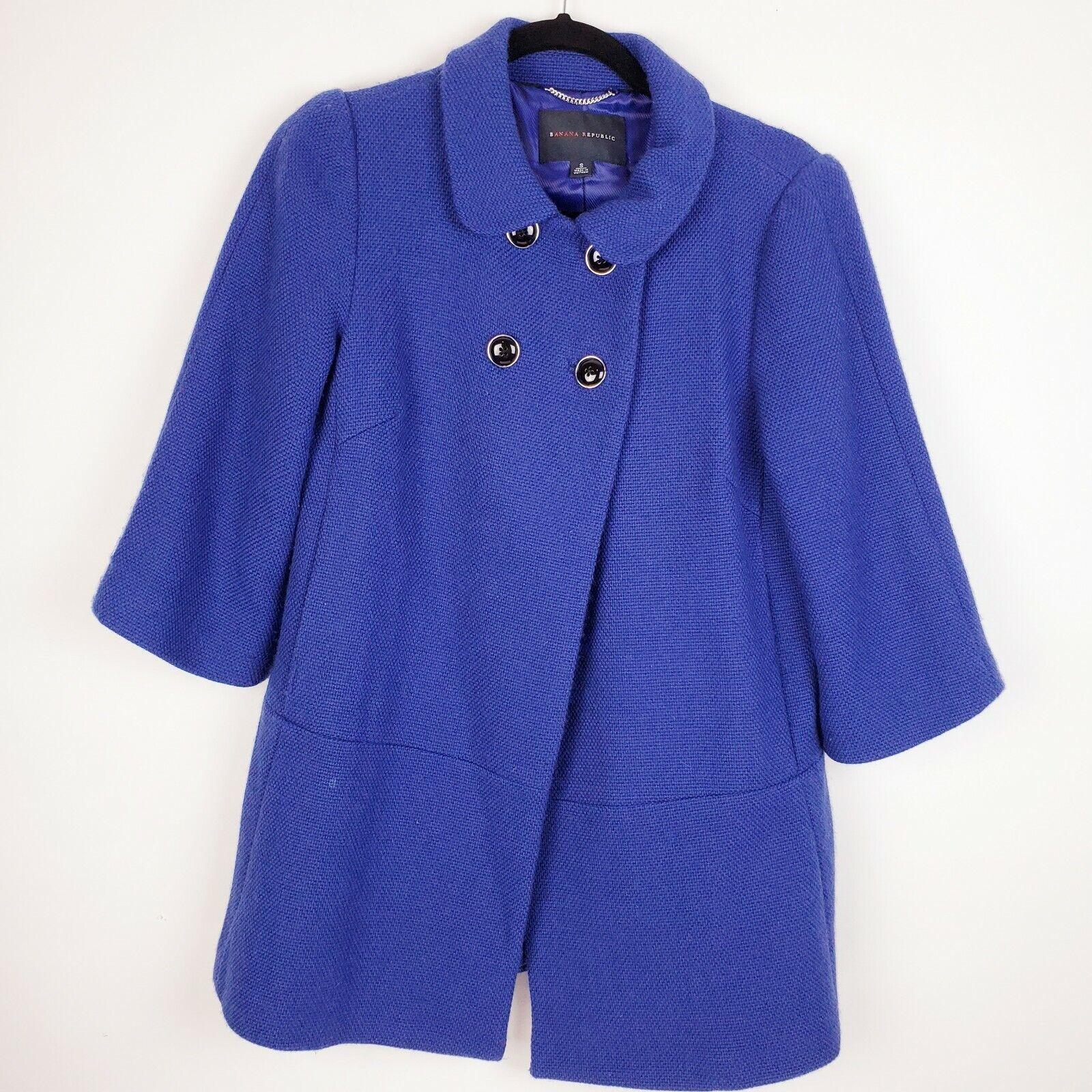 Banana Republic Womens Blue feminine Wool Blend Double Breasted Pea Coat S